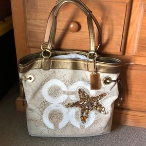 Coach canvas and leather sequenced tote